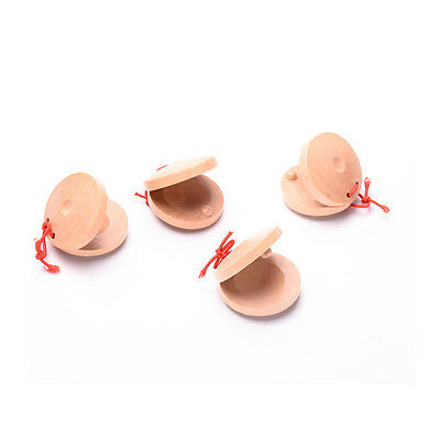 1Pcs Wooden Castanets Wood Percussion Flamenco Musical Instrument Childs Toys