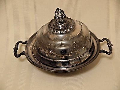 Homan Co Victorian Silverplate Butter~Cheese Dish~Detailed Hand Engraved Design