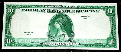 "1929 $10 Specimen ""american Bank Note Company"". Green Face. Very Crisp, Uncircla"