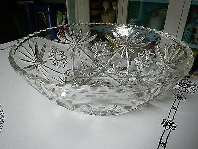 EAPC Early American Prescut Star of David Anchor Hocking Glass Lrg Serving Bowl