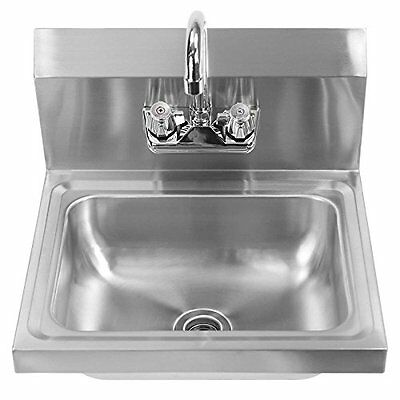 NSF Stainless Steel Wall Mount Washing Hand Sink Commercial Kitchen Heavy Duty
