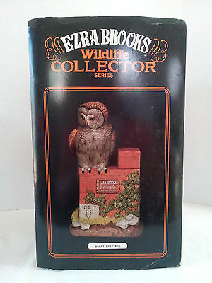 """Ezra brooks wildlife collector decanter """"Great Gray Owl"""" 1982 RARE TO FIND"""