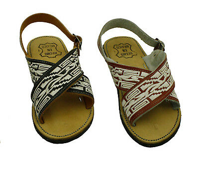 new! MEN LEATHER MEXICAN two strap PITEADO BORDADO SANDALS HUARACHE