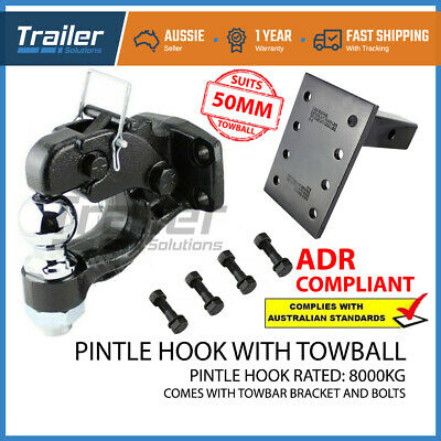 Pintle Hook Combo 8 Tonne & Pintle Receiver Arm Hitch - Tow Bar Trailer Towing