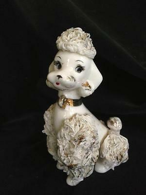 "Vintage 1950's Spaghetti Ware White & Gold Sitting Porcelain Poodle 4 1/2"" tall"