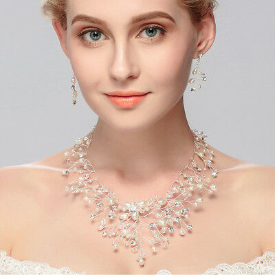 Bridal Wedding Party Jewelry Set Crystal Rhinestone Pearl Necklace & Earrings