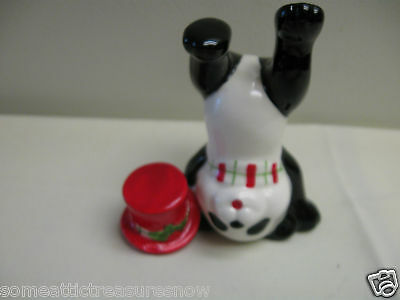 FRITZ AND FLOYD HOLIDAY PANDA WITH TOP HAT AND SCARF FIGURINE  FF 1984 inv #2
