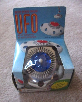 """Vintage UFO battery operated toy, MIB """"with mystery glide action"""""""