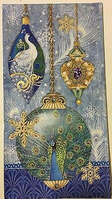 """2 Paper Napkins Decoupage~Peacock Ornaments~3 Ply 13 X 16"""" Unfolded"""