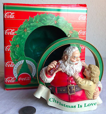 "Christmas Ornament Coca Cola ""Christmas Is Love"" Santa & Girl In Box Vintage 3.5"