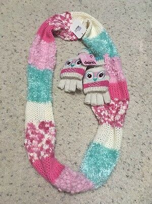 Claire's Pink And Blue Fuzzy Scarf And Cute Fold Over Mittens Set!