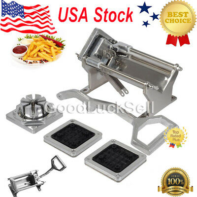 Potato French Fry Fruit Vegetable Commercial Cutter Slicer Cutting w/4 Blades US