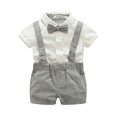 Baby Boy Wedding Formal short sleeve Suit Bowtie Gentleman Romper Tuxedo Outfit
