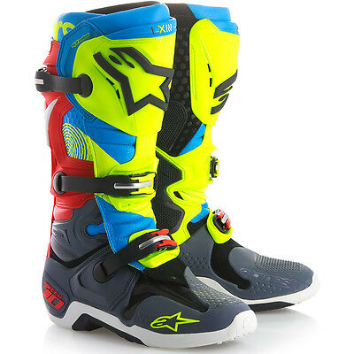 NEW Alpinestars 2018 Mx Tech 10 LE Union Fluro Yellow Blue Red Motocross Boots