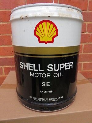 Old Shell Super Se Motor Oil Drum Tin 20 Litre Australia