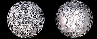 1773-V Italian States Papal States 1 Testone World Silver Coin - Clement XIV
