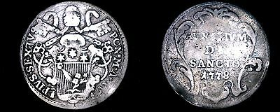 1778-III Italian States Papal States 1 Grosso World Silver Coin - Pius VI