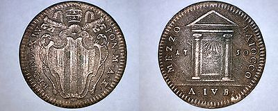 1750-X Italian States Papal States 1/2 Baiocco World Coin - Benedict XIV
