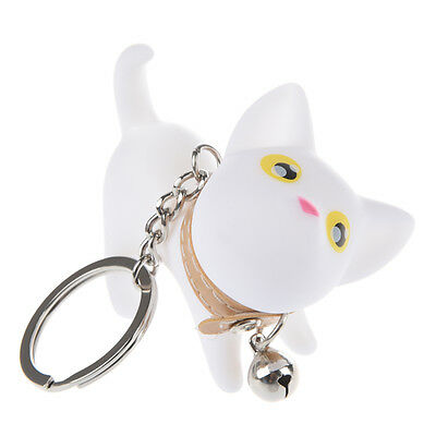 Cute Cat Key Chain/Kitten Key Ring/Bag Ornament With Bell-White A8V1