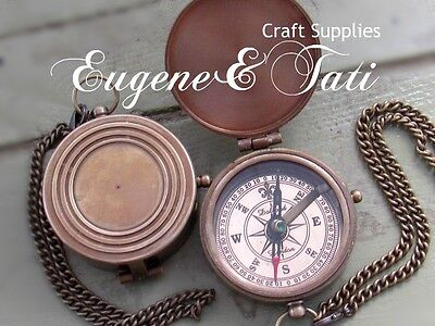 Real Working Compass, Antic Antique Replica Working Compass, Chain & Cover Lid