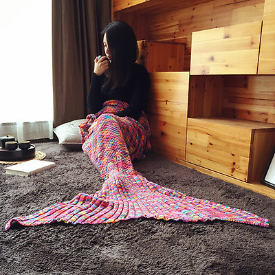 New Colorful Spots Mermaid Blanket Tail Handmade Crocheted Blankets Sofa Quilt L