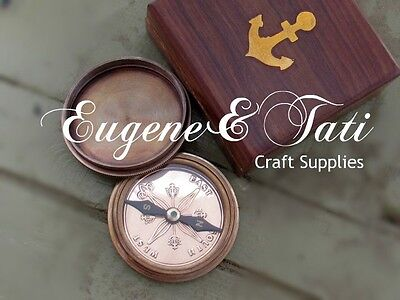 Working Compass in a Wooden Box, Real Compass, Antique Compass Replica in a Box