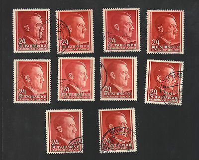 WWII Occupied Poland - Lot of 10 Stamps 24 Grosze with Hitler's Head - #1