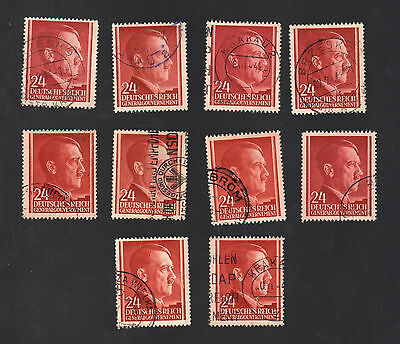 WWII Occupied Poland - Lot of 10 Stamps 24 Grosze with Hitler's Head - #2
