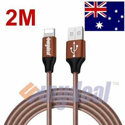 2M Aluminum Nylon Braided USB Sync Charger Charging Cable for iPhone 7 6S SE 5S