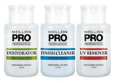 KIT 3 FRASCOS UV QUITA CALLOS FINISH CLEANER DESHIDRATADOR DE PRO 175ml UÑAS