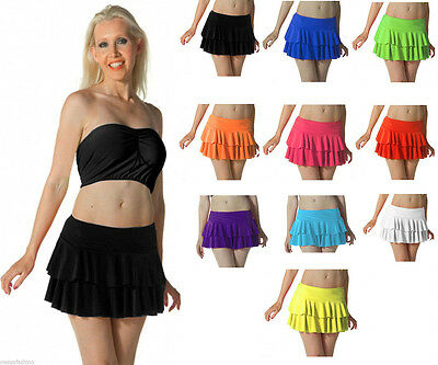 Ladies Girls Neon Rara Mini Skirt Micro fancy dress Tutu All Colours All Sizes