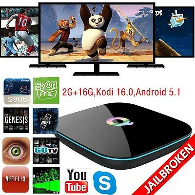 Q-BOX HDMI 4K Smart TV Box S905 Kodi Quad-Core 2.4G/5G Wifi BT Android5.1 2G+16G