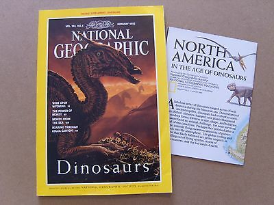 National Geographic Magazine - January 1993 -Dinosaurs Of N.america Map Included