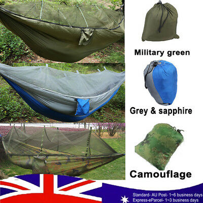 High Strength Hammocks Jungle Camping Hammock Mosquito Net Military Outdoor AU