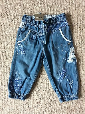BNWT Next denim cropped trousers age 2-3 new