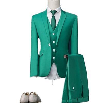 GREEN SUITS Custom Wedding Groom Best Man Tuxedos Dinner Party Prom ...