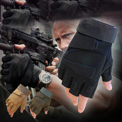 Mens Tactical Gloves Hard Armed Military Army Combat Climbing Working Fingerless
