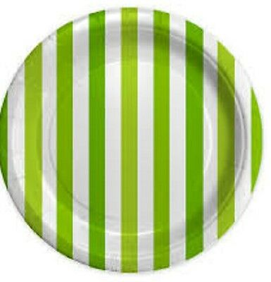 Piatti In Cartoncino Stripes Fasce Bianco Verde Lime 8Pz 18Cm Big Party Feste