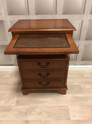 Antique Style Leather Top Bedside Table Storage Cupboard FREE UK P&P
