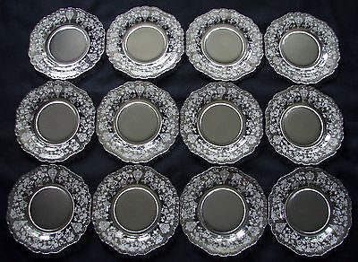 (12) Cambridge Elegant Etched Glass Bread Plates ~ Rose Point Gadroon ~ 6 1/2""