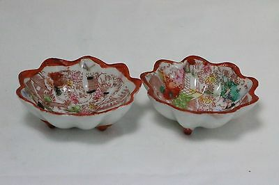 Lot of 2 Vintage Japan Porcelain Scalloped Dipping Candy Nut Soy Sauce Dish