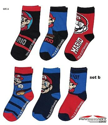 official super mario pack of 3 socks 6-2 shoe size  free 2nd class post