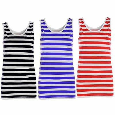 Ladies Red And White Striped Top Womens Fancy Dress Girls Outfit Vest Top