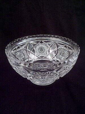 Large Heavy American Brilliant Period Footed Cut Crystal Bowl, Over 6 Lbs