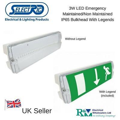 Selectric SE-BHLD-9 Emergency LED 3W Bulkhead Maintained Non Maintained IP65
