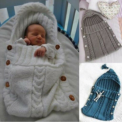 Hot Newborn Baby Infant Knit Crochet Swaddle Wrap Swaddling Blanket Sleeping Bag