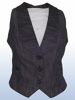 Gilet donna denim scuro jeans made in italy tg xl extra large