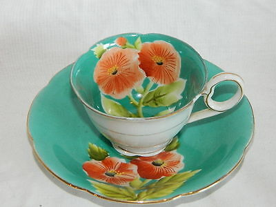 painted cup & saucer, Made in Japan green with Poppy flower