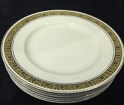 Lot of 6 Burleigh Ware Burslem England Lunch Plates Gold Encrusted Ivory China