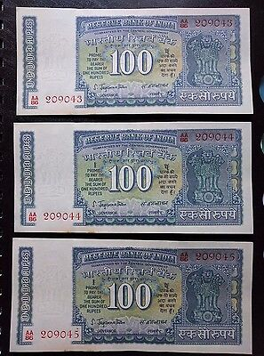 India- 3 XF SERIAL NOTES - 100 Rs - WHITE PANEL - SIGNED JAGANNATHAN - RARE